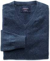 Charles Tyrwhitt Indigo Cotton Cashmere V-Neck Cotton/Cashmere Sweater Size XS