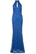 Quiz Royal Blue Lace Halter Neck Fishtail Maxi Dress