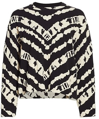 Proenza Schouler White Label Animal Print Jacquard Cropped Pullover Sweater