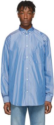 Balenciaga Blue Stripe Logo Shirt