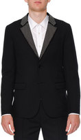 Alexander McQueen Studded-Lapel Two-Button Jacket, Black