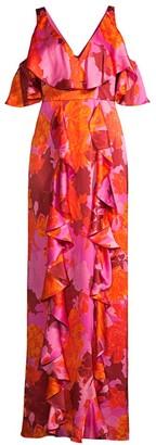 Flor Et. Al Beatrix Ruffle Silk Gown
