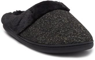 Kensie Shimmer Knit Faux Fur Slipper