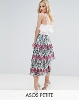 Asos Pleated Midi Skirt with Tiers in Palm Print