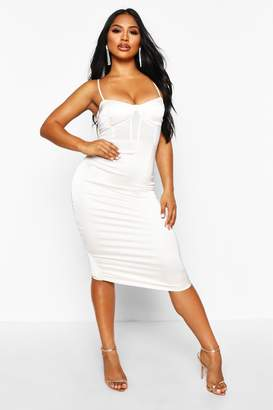 boohoo Mesh Insert Chain Strap Midi Dress