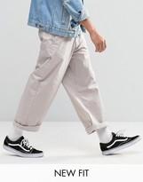 Asos Wide Leg Chinos In Light Gray