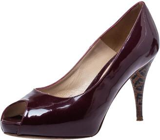 Fendi Burgundy Patent Leather FF Heels Peep Toe Platform Pumps Size 37.5