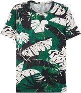 Moncler Green Leaf-print Cotton T-shirt