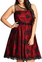 City Chic Ruby Floral Dot Mesh Dress