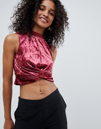UNIQUE21 Unique 21 high neck velvet crop top-Red