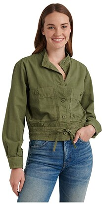 Lucky Brand Long Sleeve Button-Up Two-Pocket Femme Surplus Jacket (Romaine Green) Women's Clothing