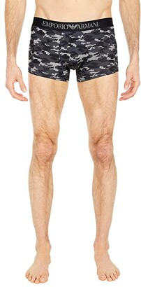 Emporio Armani Printed Single Pack All Over Camou Microfiber Trunks (Anthracite Camou) Men's Underwear