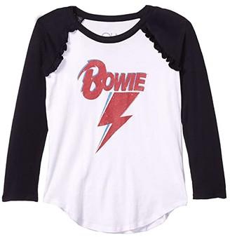 Chaser Bowie Bolt Gauzy Cotton Ruffle Raglan Baseball Tee (Little Kids/Big Kids) (White/True Black) Girl's Clothing