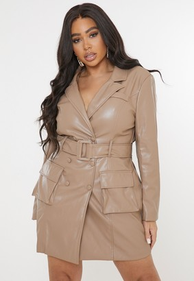 Missguided Plus Size Mauve Faux Leather Belted Blazer Dress