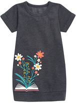 Instant Message Girls' Casual Dresses HEATHER - Heather Charcoal Flowers Out of Book Sweatshirt Dress - Toddler & Girls