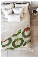 "Deny Designs Green Novelty Sabine Reinhart Christmas Wreaths Sherpa Throw Blanket (50""X60"