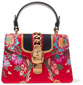 Gucci Sylvie Mini Chain-embellished Jacquard Tote - Red