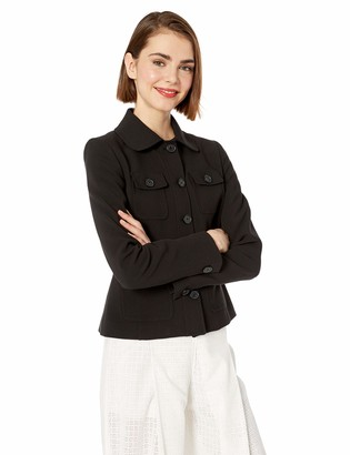 Karl Lagerfeld Paris Women's Four Pocket Peter Pan Collared Jacket
