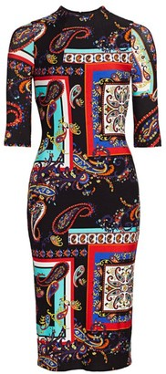 Alice + Olivia Delora Paisley Print Bodycon Dress