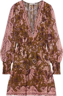 Ulla Johnson Rosetta Printed Fil Coupe Silk And Lurex-blend Mini Dress
