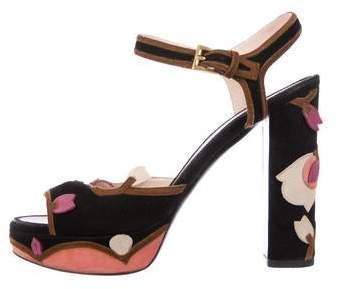 Prada Embellished Suede Platform Sandals