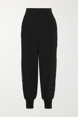 Stella McCartney + Net Sustain Julia Lace-trimmed Stretch-cady Track Pants - Black