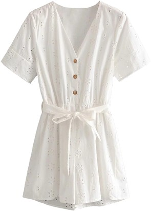 Goodnight Macaroon 'Victoria' Eyelet Lace Tied Waist Romper