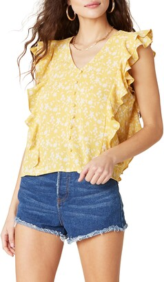 BB Dakota All the Frills Floral Ruffle Trim Tank