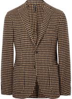 Incotex Brown Slim-Fit Unstructured Houndstooth Wool-Blend Blazer