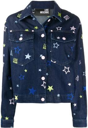 Love Moschino Denim Star Embroidered Jacket