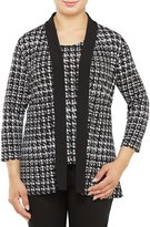 Allison Daley 3/4 Sleeve Houndstooth Open Front Cardigan