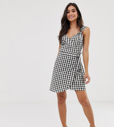Asos DESIGN Petite linen wrap mini sundress with wooden rings in mono gingham