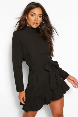 boohoo High Neck Tie Waist Skater Dress
