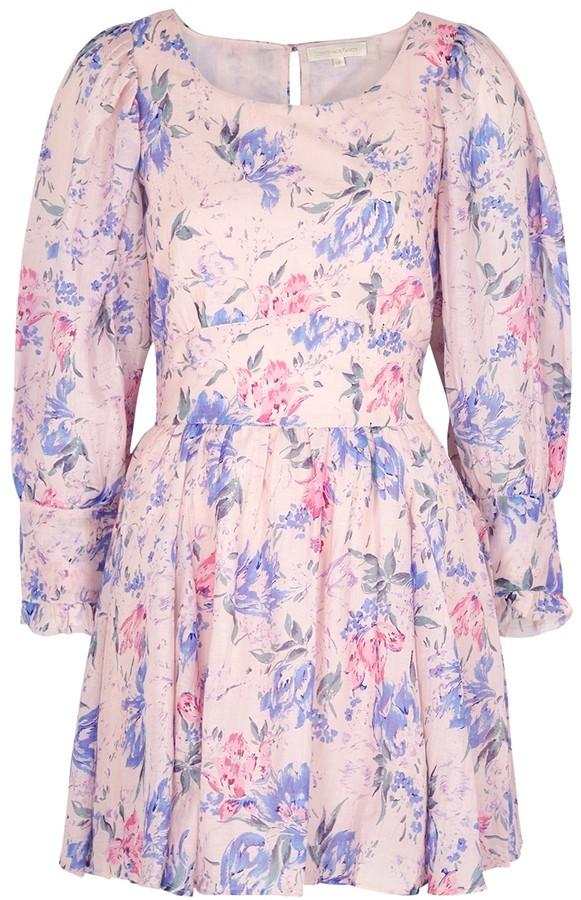 LoveShackFancy Ross floral-print cotton and silk-blend mini dress