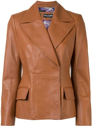 Dolce & Gabbana Concealed Fastening Calf Leather Jacket