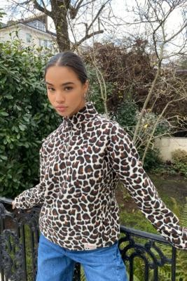 Champion Quarter-Zip Leopard Sweatshirt - Assorted XS at Urban Outfitters