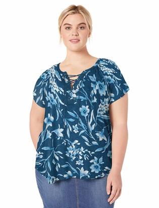 Chaps Women's Plus Size Short Sleeve Lace up Top