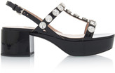 Miu Miu Embellished Patent Leather Platform Sandals