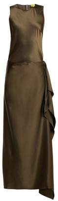 Albus Lumen - Hermosa Detachable-skirt Silk Dress - Womens - Dark Green