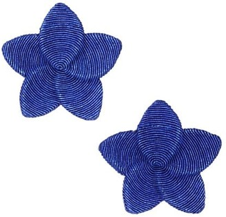 Rebecca De Ravenel Frangipani 18K Goldplated & Hand Embroidered Star Drop Earrings