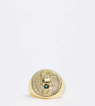 Reclaimed Vintage inspired 14k gold plate cancer star sign coin ring