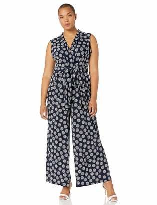 Jessica Howard JessicaHoward Plus Size Womens Sleeveless Surplice V-Neck Jumpsuit