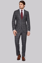 Moss Bros Tailored Fit Grey Windowpane Check Suit