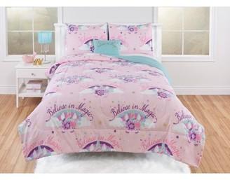 Beco Home Magical Metallic Unicorn 3 Piece Comforter Set with decor pillow Twin