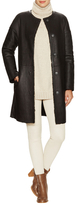 Yves Salomon Collarless Leather Tall Coat