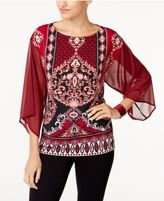 JM Collection Printed Sheer-Sleeve Tunic, Created for Macy's