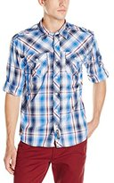 Southpole Men's Long Sleeve Plaid Woven with Large Plaid Patterns and Roll up Sleeves