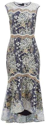 Peter Pilotto Floral Embroidered Chantilly Lace Dress - Womens - Navy Gold