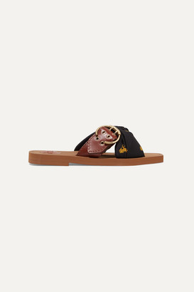 Chloé Woody Leather And Printed Satin-twill Slides - Black