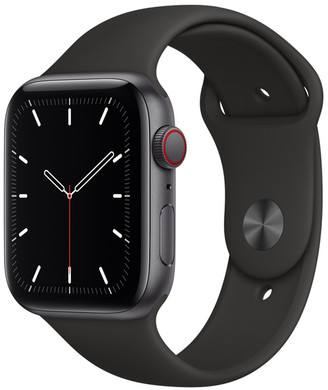 Apple Watch SE GPS + Cellular, 44mm Space Gray Aluminum Case with Black Sport Band - Regular